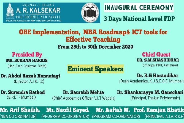 "3 days National Level  FDPon ""OBE Implementation,  NBA Road map & ICT tools for effective teaching."""