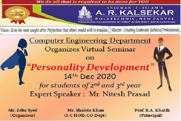 Virtual seminar on Personality Development By Computer Department