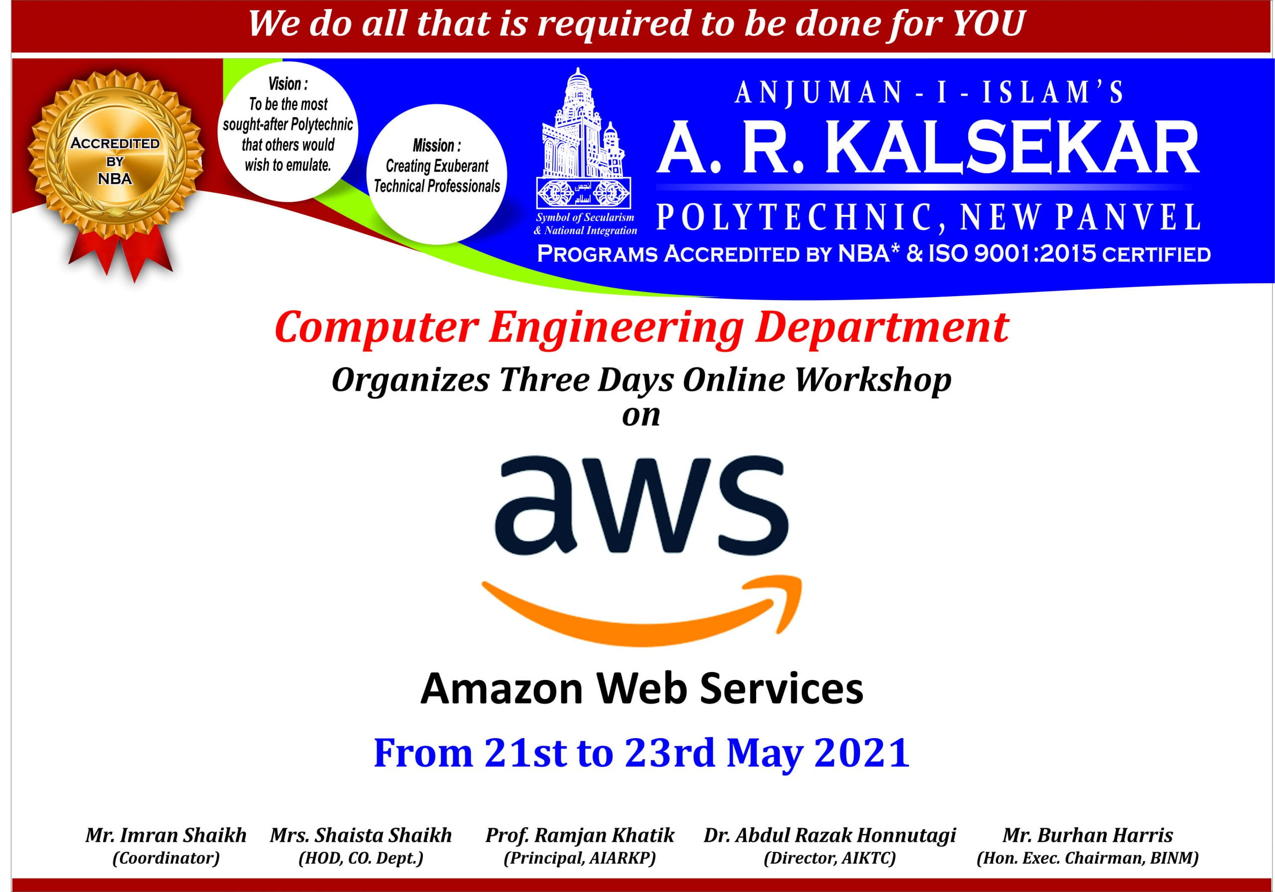 3 Days Online Workshop on AWS-Amazon Web Services